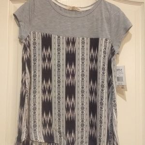 NWT gray mixed media blouse